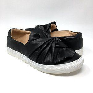 TOPSHOP Twisted Black Leather Slip On Shoe Trainer